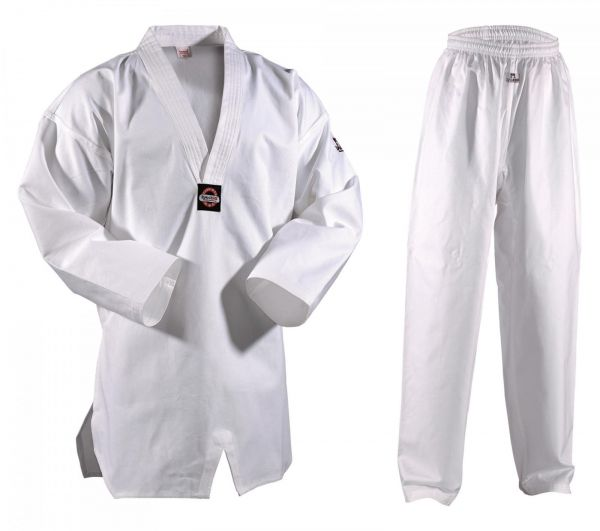 Weißer Danrho 8oz Taekwondo Anzug Kukkiwon mit weißem Revers