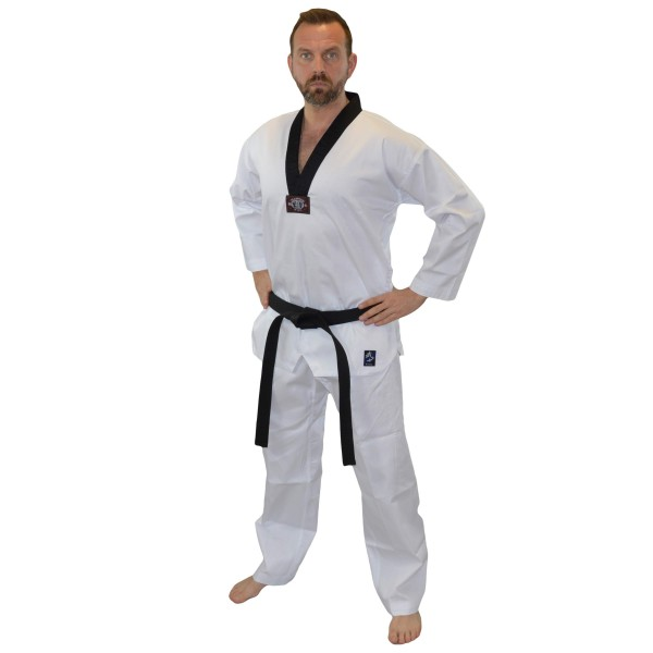 Phoenix Taekwondoanzug BASIC EDITION MASTER Dobok weiß, schwarzes Revers