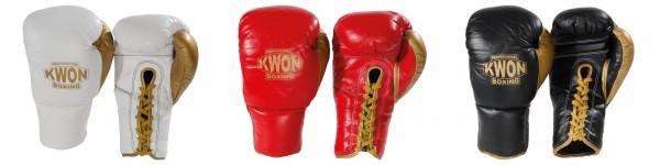 KWON Profi Boxhandschuhe Leder mit Schnürung