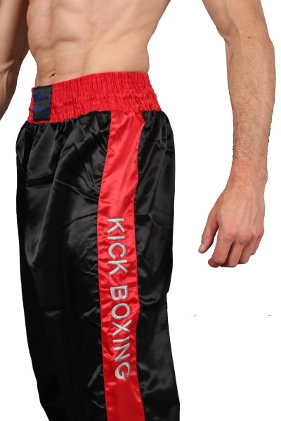 Phoenix Kickboxhose schwarz-rot mit Bestickung