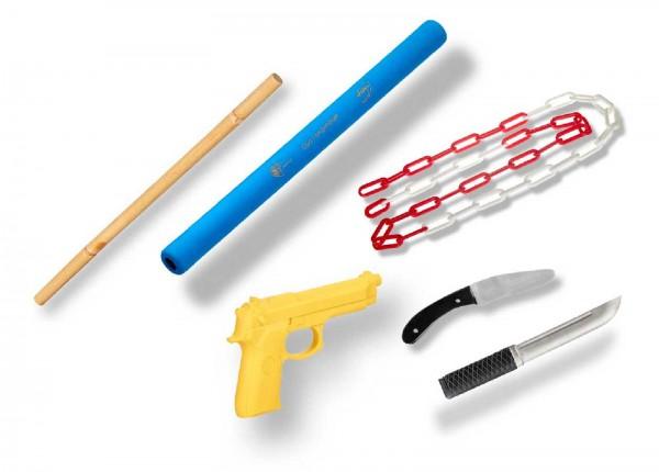 Ju-Sports Ju-Jutsu Waffenset 3: 2 Stöcke, 2 Messer, Gummipistole, Kette