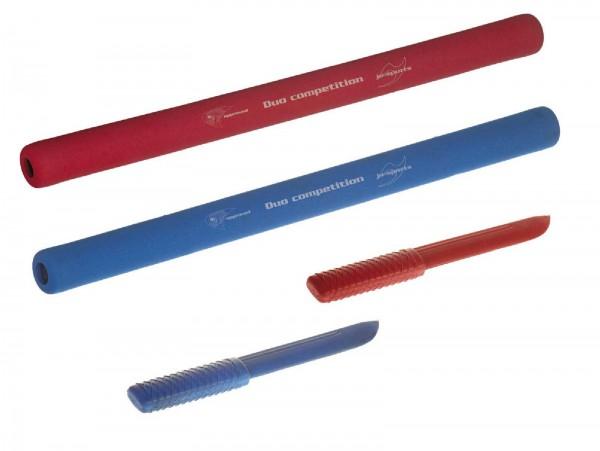 Ju-Sports Ju-Jutsu Duo-Waffen-Set: Soft Stick rot und blau, Messer rot und blau