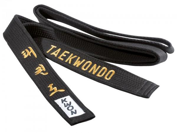 Schwarzer KWON Gürtel mit goldener Taekwondo Bestickung