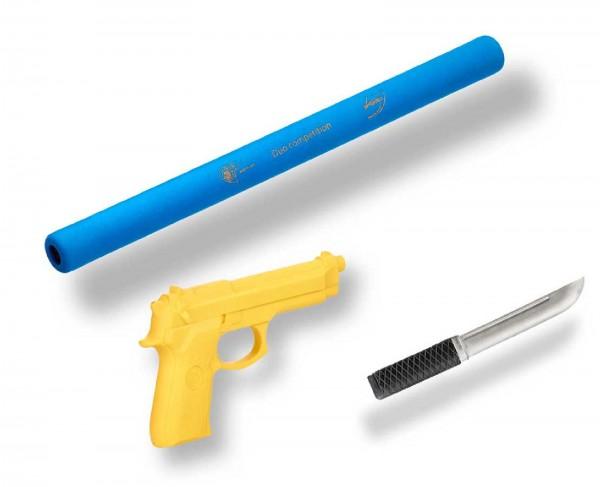 Ju-Sports Ju-Jutsu Waffenset 2: Soft-Stick, Gummimesser, Gummipistole