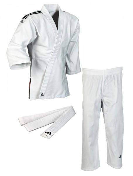 ADIDAS Judo-Anzug Club weiß, schwarze Streifen