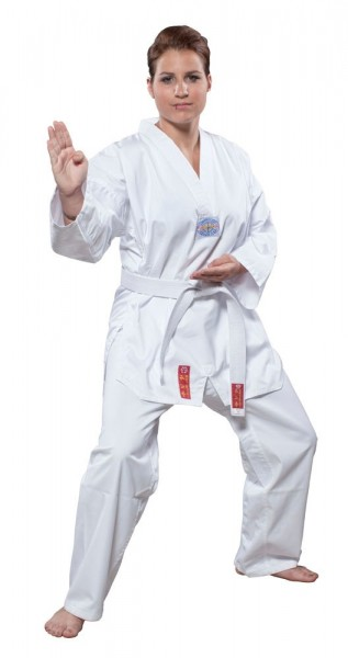 HAYASHI Taeguk Inswae Taekwondo Anzug mit weißem Revers - mit TAEKWONDO- Rückenaufdruck