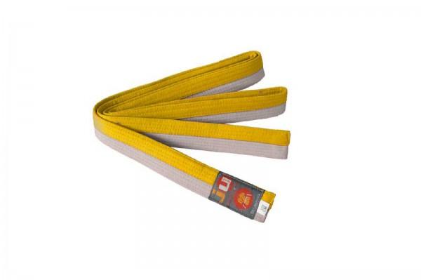 Ju-Sports Budogürtel weiß/gelb (halb/halb)